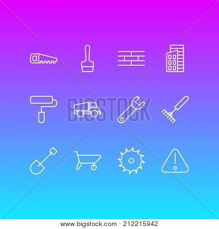 Editable Pack Of Paintbrush, Hacksaw, Handcart Elements.  Vector Illustration Of 12 Construction Icons.