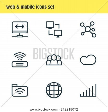 Editable Pack Of Publish, Wifi, Strong And Other Elements.  Vector Illustration Of 9 Network Icons.
