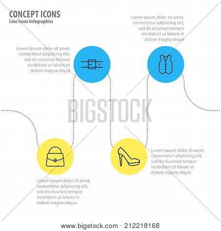 Editable Pack Of Sandal, Handbag, Strap Elements.  Vector Illustration Of 4 Garment Icons.