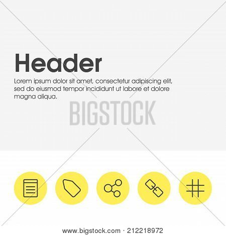 Editable Pack Of Lattice, Label, Document And Other Elements.  Vector Illustration Of 5 Annex Icons.