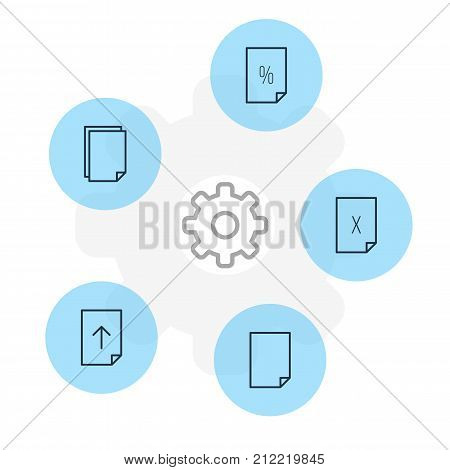 Editable Pack Of Download, Remove, File And Other Elements.  Vector Illustration Of 5 Document Icons.