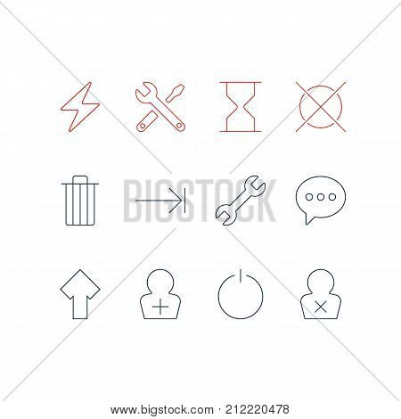 Editable Pack Of Register Account, Bolt, Tabulation Button And Other Elements.  Vector Illustration Of 12 User Icons.