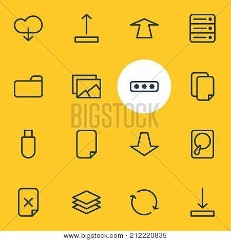 Editable Pack Of Remove, Gallery, Synchronize And Other Elements.  Vector Illustration Of 16 Storage Icons.