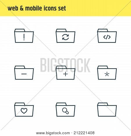 Editable Pack Of Plus, Significant, Document Case And Other Elements.  Vector Illustration Of 9 Folder Icons.