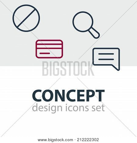 Editable Pack Of Block, Magnifier, Payment And Other Elements.  Vector Illustration Of 4 Annex Icons.