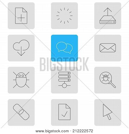 Editable Pack Of Computer Virus, Hdd Sync, Talking And Other Elements.  Vector Illustration Of 12 Network Icons.