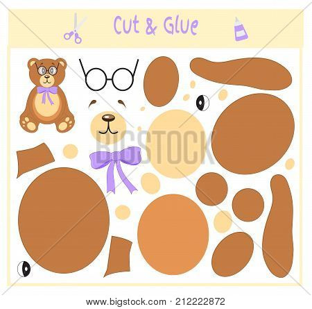 Education paper game for the development of preschool children. Cut parts of the image and glue on the paper. Vector illustration. Use scissors and glue to create the applique. Bear in glasses. Teddy.