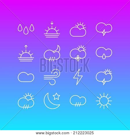 Editable Pack Of Lightning, Windstorm, Drip And Other Elements.  Vector Illustration Of 16 Weather Icons.