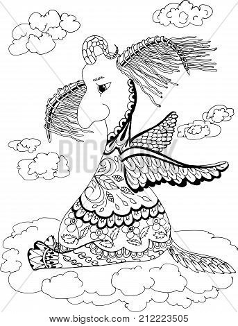 This animal is called Loshara, which flies all the time. Hand drawn patterns for coloring. Freehand sketch drawing for adult antistress coloring book in zentangle style.