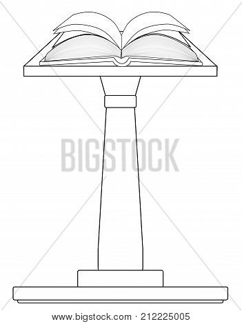 A large open hard back book set upon a pulpit podium in outline