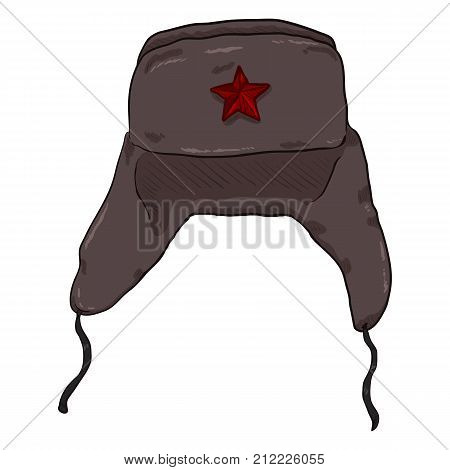 Vector Cartoon Ussr Winter Military Hat With Star Badge.