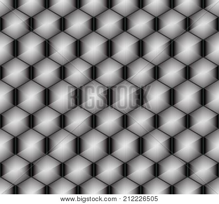 Seamless pattern of hexagons superimposed on each other simulating a cell surface with bright elements