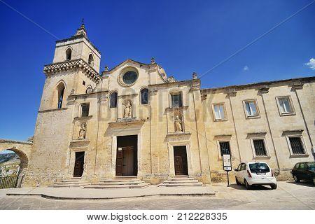 2013 August 05 Panoramic view of the medieval ancient town of Matera (Sassi di Matera) Basilicata Italy.