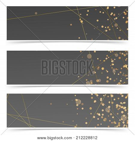 Modern art-deco style vintage golden line pattern invitation banners. Dark beautiful card or web header footer collection with golden frame and glittering particle. Vector illustration