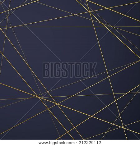 Bright golden art-deco frame over dark blue background. Gold polygonal texture card with a geometric pattern. Geometric thin line shape modern minimalistic fashion design style. Vector illustration