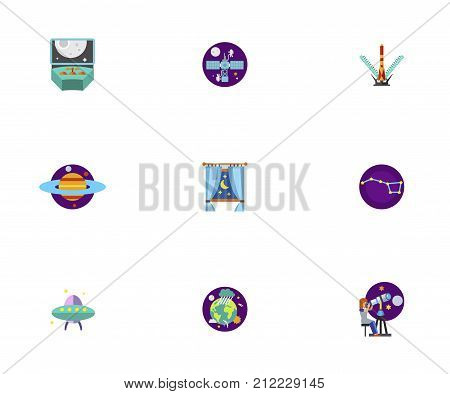 Astronomy Icon Set. Spacecraft Control Space Station Shuttle Launch Planet Saturn Night Behind Window Constellation Alien Spaceship Earth In Space Astronomy Scientist