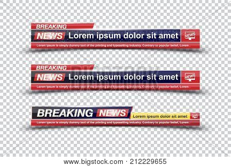 Breaking News Template Title On Transparent Backdrop For Screen Tv Channel. Flat Vector Illustration