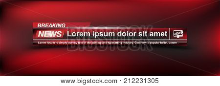 Breaking News Templates Title On Colour Background For Screen Tv Channel. Flat Vector Illustration E