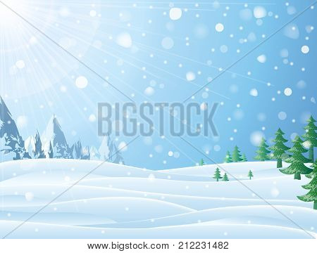 Daytime snowy scene with ridge and christmas trees. Snowfall against winter landscape of mountains and pines. Vector image for new years day christmas winter holiday new years eve silvester