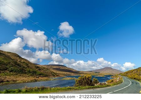 Scenic Nature Connemara Landscape From The West Of Ireland. Epic Irish Rural Countryside From County