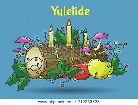 Traditional Yule Log, color hand drawn vector illustration