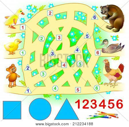 Educational page for young children. Need to join successively triangles, circles and squares. Find the way from kids till their parents. Logic puzzle game.