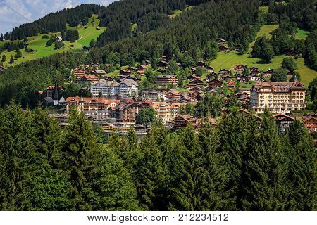 Car free mountain village Wengen in the Bernese Alps on a sunny day in summer. Wengen Bernese Oberland Switzerland