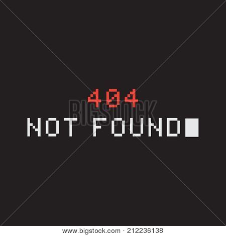 Pixel 404 error page. Page not found. Vector illustration