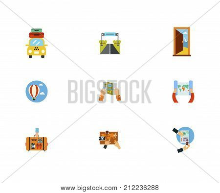 Destination Icon Set.Taxi With Suitcases Road Sign Door In Sea Hot Air Balloon Paper Map Hand Holding Suitcase Planning Trip On Map