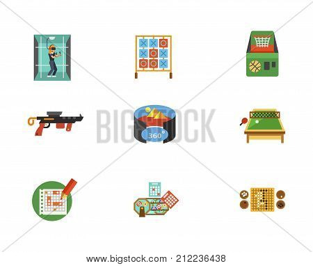 Entertainment icon Set. Woman In Virtual Reality Room Table For Tic Tac Toe Game Basketball Machine Gun Virtual Reality Room Sea Battle Sheet Lottery Balls And Tickets Go Games