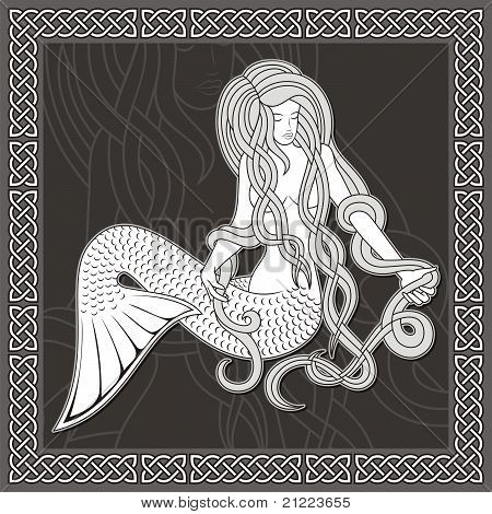 Mermaid With Celtic Border