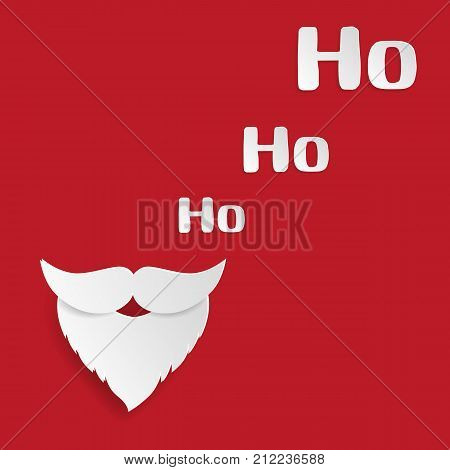 Merry Christmas And Happy New Year Greeting Card. Santa Claus Mustache And Ho-ho-ho Words On Red Bac