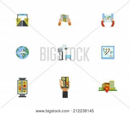 Orientation Icon Set.Road Sign Paper Map World Air Tour Bus Stop Subway Map Street Map Gps Navigation Geo Location