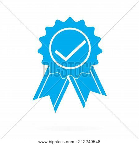 approved or certified medal icon on white background. blue approved or certified medal sign. flat style.