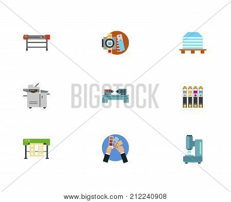 Typography Icon Set.Printing Machine Tools Printing Stack Multifunctional Printer Lathe Machine Ink Jet Cutting Plotter Color Selection Automatic Hammer