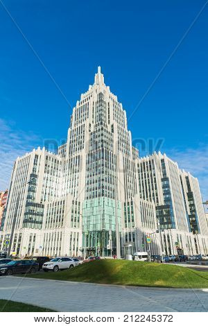 Moscow, Russia - November 2. 2017 Oruzeiny - the multifunctional business center