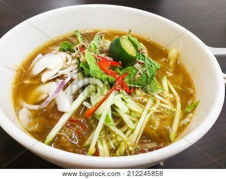 Close-up On Penang Asam Laksa, Popular Malaysian Cuisine