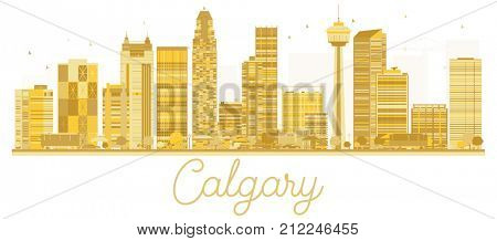 Calgary City skyline golden silhouette. Business travel concept. Calgary Cityscape with famous landmarks.
