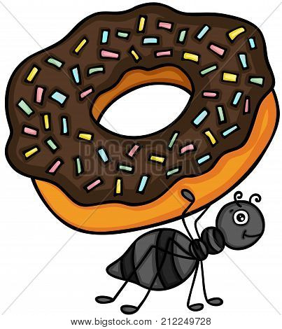 Scalable vectorial image representing a ant carrying chocolate cake donut, isolated on white.