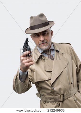 Retro Spy Agent With Revolver