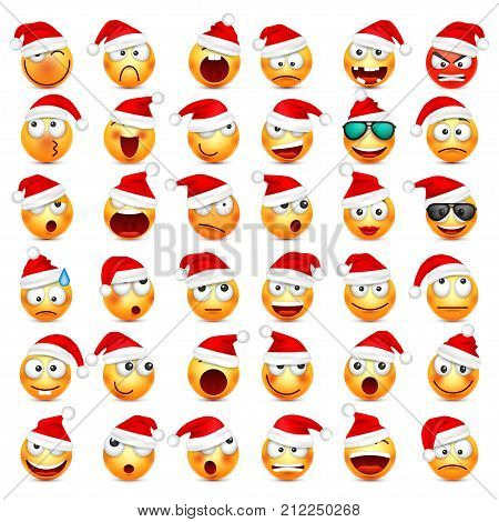 Smiley, emoticon set. Yellow face with emotions and Christmas hat. New Year, Santa.Winter emoji. Sad, happy, angry faces.Funny cartoon character.Mood. Vector.