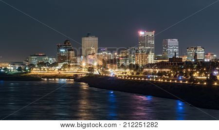 MEMPHIS, TN - OCTOBER 10, 2017: Night skyline of downtown Memphis, Tennessee