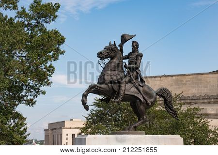 NASHVILLE, TN - OCTOBER 9, 2017: Statue of Andrew Jackson at the Tennessee capital in Nashville.