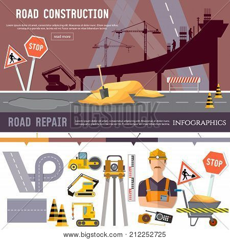 Road construction and road repair collection. Repair is expensive in the city. Industrial bridge works construction and repair elements vector