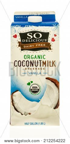 Winneconne WI - 31 October 2017: A carton of So Delicious dairy free coconut milk on an isolated background.