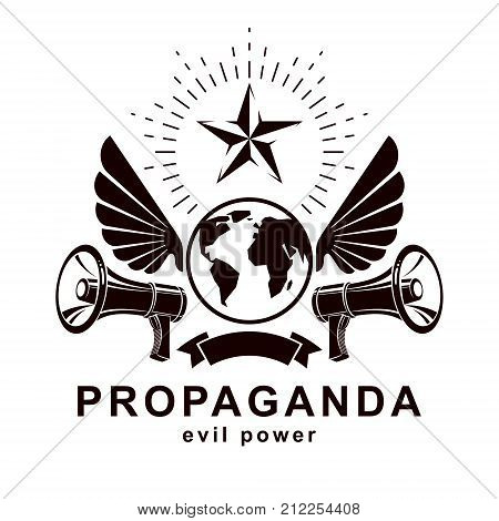Simple vector emblem created using Earth planet illustration composed with wings and loudspeakers equipment. Propaganda as one of the methods of global psychological warfare.