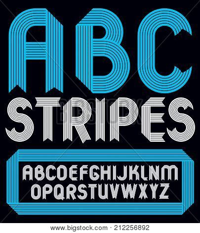 Set Of Trendy Vector Capital Alphabet Letters, Abc Isolated. Geometric Bold Type Font, Script From A
