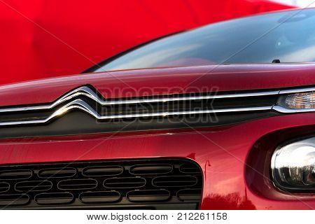 Prague, Czech Republic - November 5: Citroen C3 Car In Front Of Dealership Building On November 5, 2
