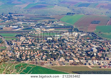 View From Mount Tabor To Kfar Tavor In Israel
