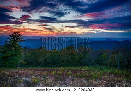 Sunset over the Blue Ridge Mountains in Shenandoah National Park in Virginia